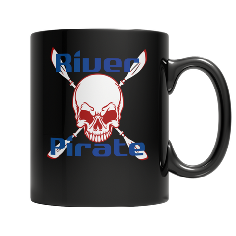 """River Pirate"", 11 Oz. Black Coffee Mug For Kayaking And Canoeing Lovers"