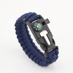 Dark Blue-Colored Braided Paracord Survival Bracelet With Compass And Whistle