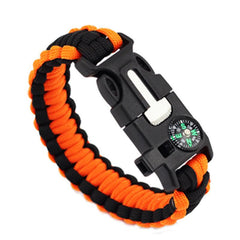 Orange And Black-Colored Braided Paracord Survival Bracelet With Compass And Whistle