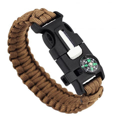 Brown-Colored Braided Paracord Survival Bracelet With Compass And Whistle