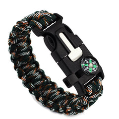 Black Camouflage-Colored Braided Paracord Survival Bracelet With Compass And Whistle