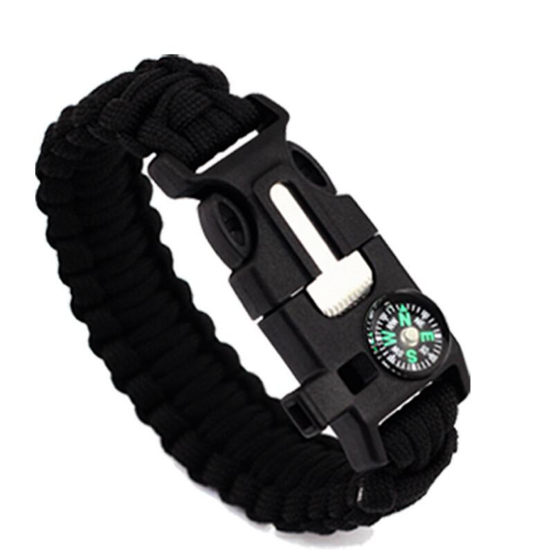 Black-Colored Braided Paracord Survival Bracelet With Compass And Whistle