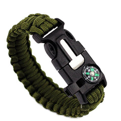 Green-Colored Braided Paracord Survival Bracelet With Compass And Whistle