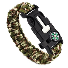 Green Camouflage-Colored Braided Paracord Survival Bracelet With Compass And Whistle