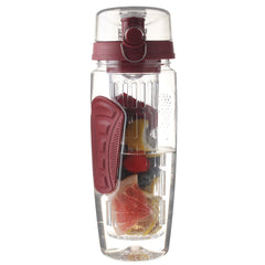 32 Oz, BPA-Free, Red-Colored Fruit-Infusing Water Bottle