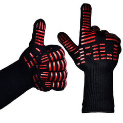 Heat Resistant, Silicone And Cotton BBQ Gloves In Black And Red
