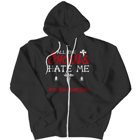 """All The Ghouls Hate Me Because I Save Lives"", Black, Nurse Zipper Hoodie For Halloween"