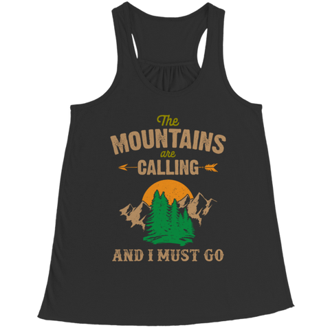 """The Mountains Are Calling And I Must Go"" Bella Flowy Black Racerback Tank Top"