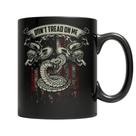 """Don't Tread On Me"" 11 Oz Black Coffee Mug"