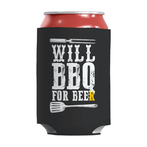 """Will BBQ For Beer"" 12 Oz Soda/Adult Beverage Can & Stumpy Bottle Insulator/Sleeve/Wrap In Black Color"