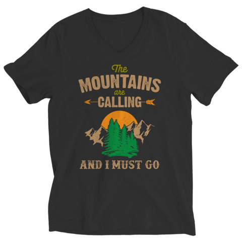"""The Mountains Are Calling And I Must Go"" Ladies' V Neck Black T Shirt"