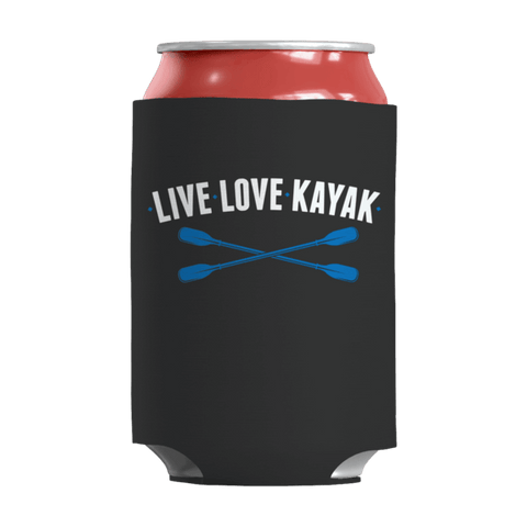 """Live, Love, Kayak"" 12 Oz Soda/Adult Beverage Can & Stumpy Bottle Insulator/Sleeve/Wrap In Black Color"
