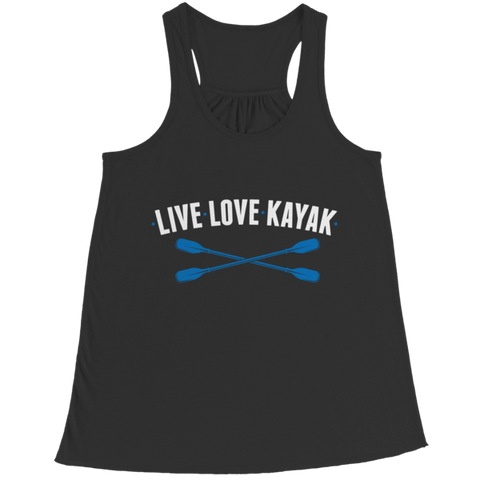 """Live, Love, Kayak"" Bella Flowy Black Racerback Tank Top"