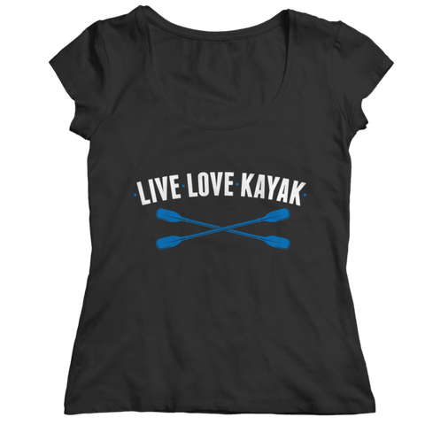 """Live, Love, Kayak"" Ladies' Classic Black Shirt"