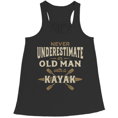 """Never Underestimate An Old Man With A Kayak"" Bella Flowy Black Racerback Tank Top"