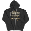 """Never Underestimate An Old Man With A Kayak"" Black Zipper Hoodie"