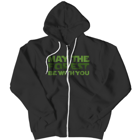 """May The Forest Be With You"" Black Zipper Hoodie"