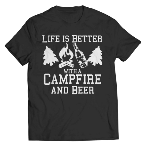 """Life Is Better With A Campfire And Beer"" Unisex Black T Shirt"