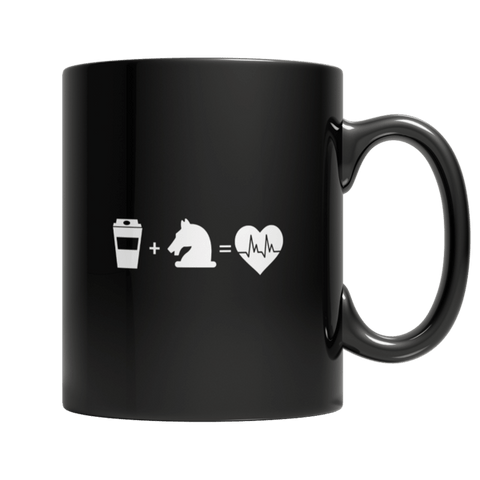 """Coffee Plus A Horse Equals Love"" 11 Oz Black Coffee Mug"