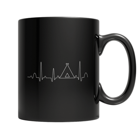 """Camping Heartbeat"" 11 Oz Black Coffee Mug"