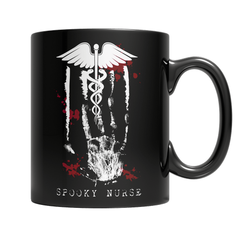 """Spooky Nurse"", 11 Oz, Black Coffee Mug For Halloween"