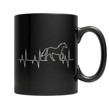 """Horse Pulse"" 11 Oz Black Coffee Mug"