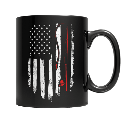 """Fishing Flag"" 11 Oz Black Coffee Mug"