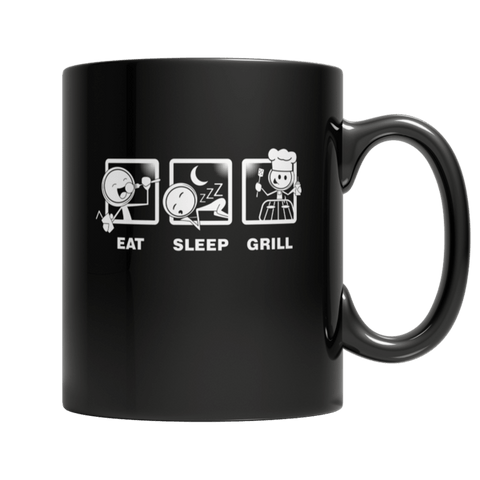 """Eat, Sleep, Grill"" 11 Oz Black Coffee Mug"
