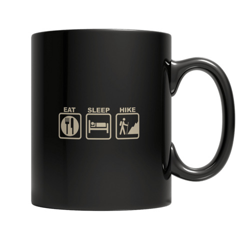 """Eat, Sleep, Hike"" 11 Oz Black Coffee Mug"