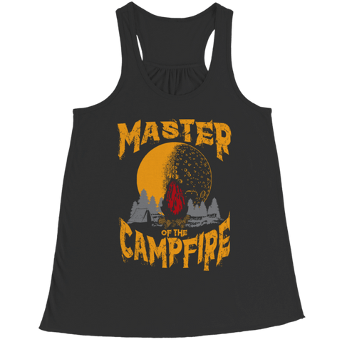 """Master Of The Campfire"" Bella Flowy Black Racerback Tank Top"