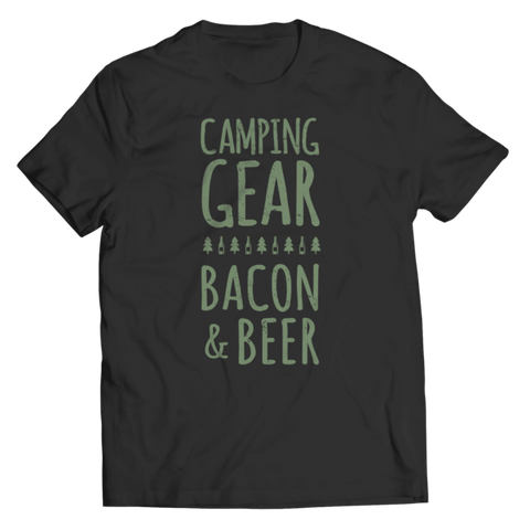 """Camping Gear, Bacon & Beer"" Unisex Black T Shirt"