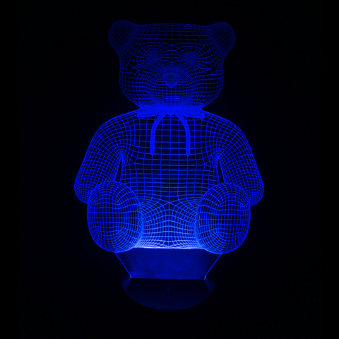 Teddy Bear-Shaped, Color-Changing, Acrylic 3D(TM) L.E.D. Lamp(Blue Color)