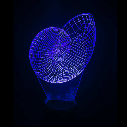 Seashell-Shaped, Color-Changing, Acrylic, 3D(TM) L.E.D. Lamp(Blue Color)