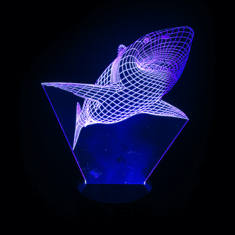 Shark-Shaped, Color-Changing, Acrylic, 3D(TM) L.E.D. Lamp(Blue Color)