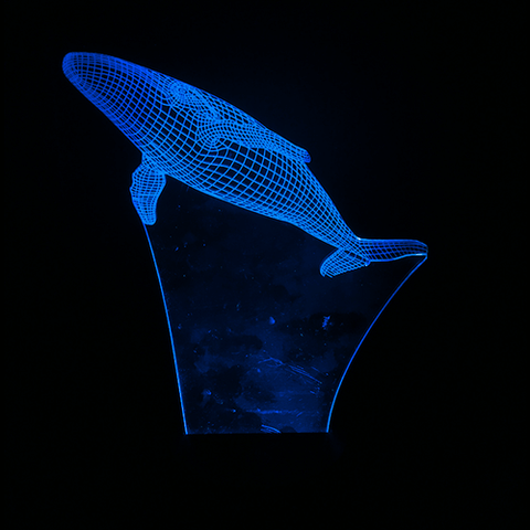 Whale-Shaped, Color-Changing, Acrylic 3D(TM) L.E.D. Lamp(Blue Color)