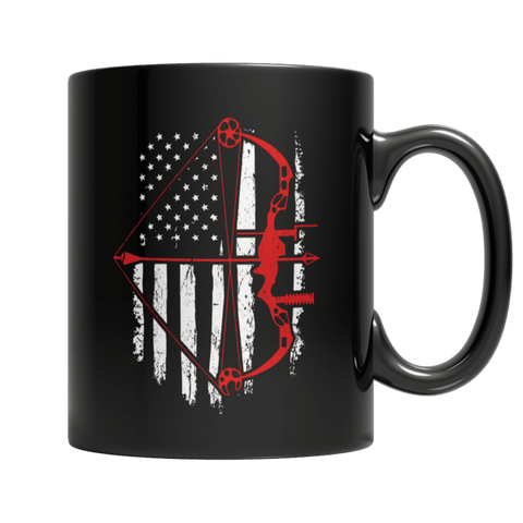 """Bow Hunter Flag"" 11 Oz Black Coffee Mug"