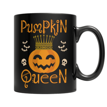 """Pumpkin Queen"", 11 Oz, Black Coffee Mug"