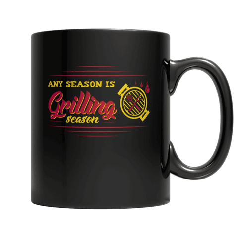 """Any Season Is Grilling Season"", 11 Oz, Black Coffee Mug"