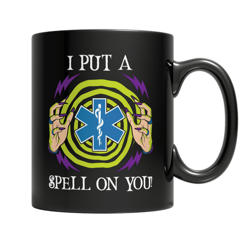 """I Put A Spell On You"", 11 Oz, Black, EMT Coffee Mug For Halloween"