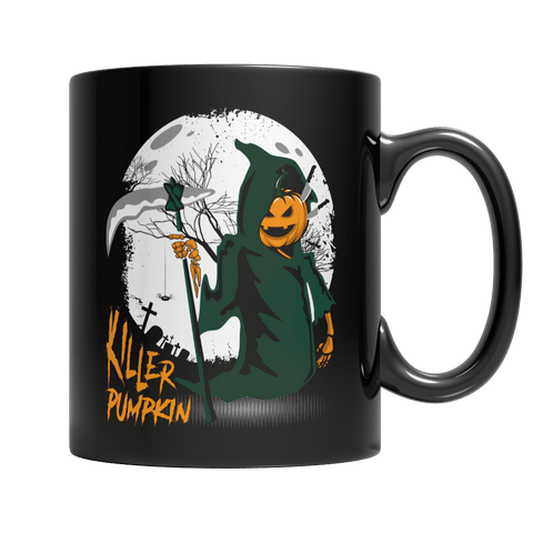"""Killer Pumpkin"", 11 Oz, Black Coffee Mug(1)"