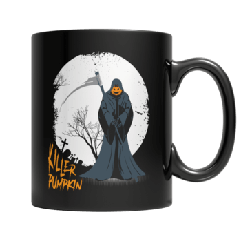 """Killer Pumpkin"", 11 Oz, Black Coffee Mug(2)"