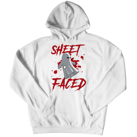 """Sheet Faced"", White Hoodie For Halloween"