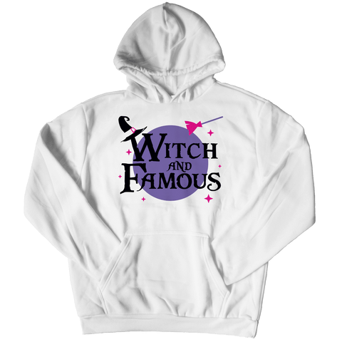 """Witch And Famous"", White Hoodie For Halloween"