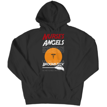 """Nurses Are Angels..."", Black Hoodie For Halloween"