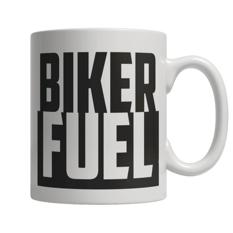 """Biker Fuel"", 11 Oz, White Coffee Mug"