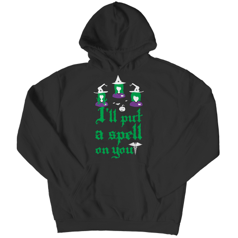 """I'll Put A Spell On You"", Black, Nurse Hoodie For Halloween"