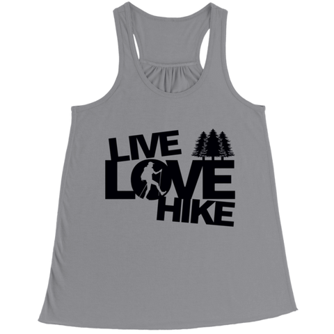 """Live, Love, Hike"" Bella Flowy, Athletic Heather(Gray) Racerback Tank Top"