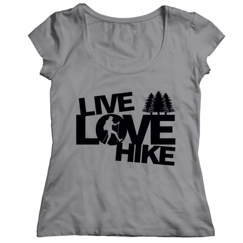 """Live, Love, Hike"" Ladies' Classic, Athletic Heather(Gray) Shirt"