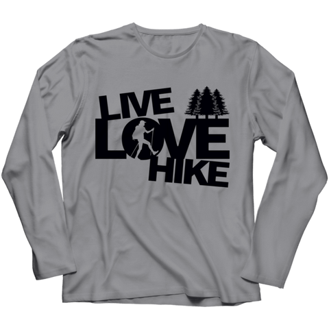 """Live, Love, Hike"" Long-Sleeved, Athletic Heather(Gray) T Shirt"