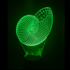 Seashell-Shaped, Color-Changing, Acrylic, 3D(TM) L.E.D. Lamp(Green Color)